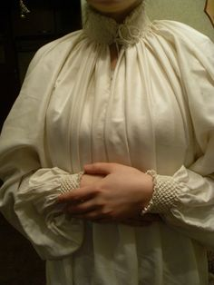 chemise, German smocked collar and cuffs