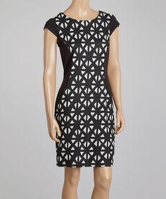 Loving this Gray & Black Geometric Ponte Cap-Sleeve Dress - Women & Plus on #zulily! #zulilyfinds