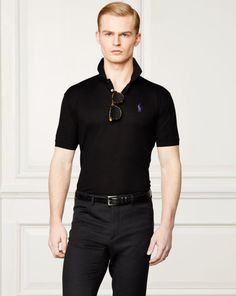 8b835b6c Buy Ralph Lauren Purple Label Men's Black Custom-fit Piqué Polo Shirt,  starting at Similar products also available. SALE now on!