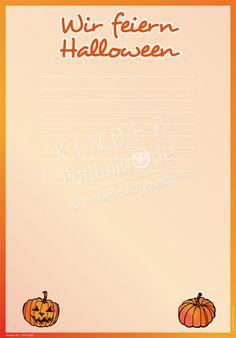 """Kindergarten Portfolio Vorlage """"Wir feiern Helloween"""""""