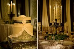 Downton Abbey Wedding table. Like the champaign or gold table cloth and gold rimmed white plates and the glasses on this tablescape