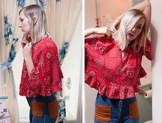 vintage 70's flouncy red blouse crop top bohemian by foxandfawns, $26.00