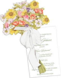 English Garden Bouquet Die-Cut Invitations