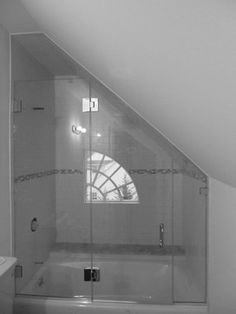 Low Ceiling Shower Frameless Glass Shower Enclosure with angled ceiling contemporary showers Glass Bathtub, Bathtub Doors, Frameless Shower Doors, Bathtub Shower, Glass Shower Doors, Glass Doors, Attic Shower, Small Attic Bathroom, Small Bathtub