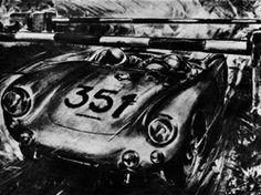 Porsche 550 Spyder - Hans Herrmann and Herbert Linge ducking underneath a railway barrier - 1954 Mille Miglia