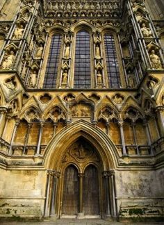 Front entrance to Wells cathedral in Somerset England