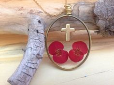Real Pressed Flower with Cross Necklace by flowersfadejewelry