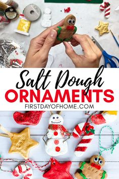 Easy Salt Dough Ornaments Easy Salt Dough Ornaments This salt dough recipe uses only and is easy enough for kids to make! Choose a bake or no-bake (air dry) option when making these adorable DIY Christmas ornaments. Get a full tutorial that s Salt Dough Christmas Ornaments, Christmas Ornaments To Make, Homemade Christmas Gifts, Christmas Fun, Homemade Ornaments, Vinyl Ornaments, Glitter Ornaments, Paper Ornaments, Painted Ornaments
