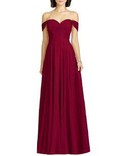 Amazon.com: OYISHA Womens Off Shoulder Chiffon Bridesmaid Long Evening Dress Formal BD131: Clothing