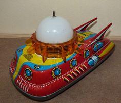 Vintage Ananiades Greece Greek Made Tin Toy Space SHIP VGC Works | eBay