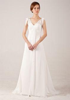 Graceful Simple V-neck Chiffon Wedding Dress with Bows On Shoulder $236.00