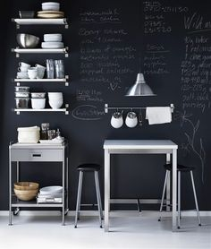 I'd paint a chalkboard wall in either the kitchen or office . . . or both.