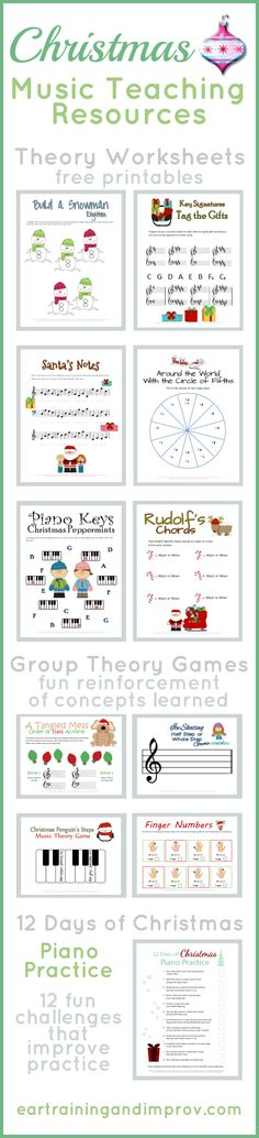 Christmas Music Worksheets paired with fun group game ideas.. dice +unwrap the pkg, build a snowman, untangle the keys, etc.
