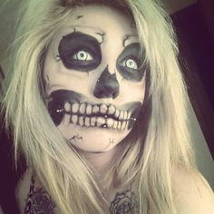 darkness modeling halloween creepy scary paint uv tattoo tattoos haunted house cheek piercings dimples dimple blue blonde hair risque woods photography dress  art skull skeleton skull makeup rick genest costume contacts manson
