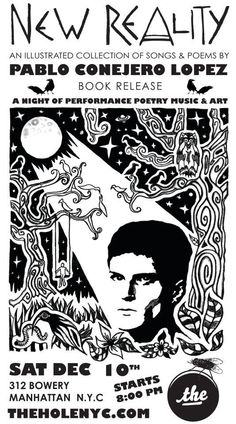 """New Reality Posters - Shots from the New Reality Book Release - """"New Reality"""" Illustrated Book of Poems & Songs by Poet, Singer Pablo Conejero Lopez. Designed, Illustrated & Produced by Artist Vincent Michaud. Published by The Shakespeare Foundation of Spain. Released at The Hole Gallery NYC. Artist Vinny Michaud. http://www.vincentmichaud.vision/new-reality-1/"""