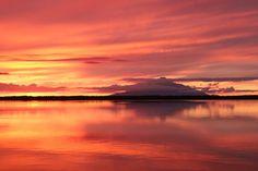 パンケ沼から望む利尻富士の夕景
