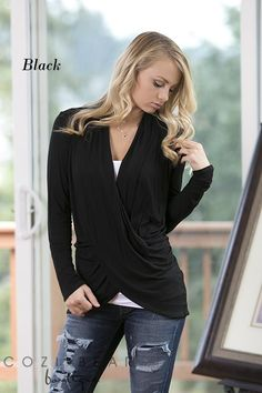 """Our new long sleeve crossover tops are adorable and perfect for layering in these upcoming cooler months.Layer them over your favorite tank/cami/layering top and you'll be set this season.Pair them with anything, your favorite jeans, skirts, etc.They're so versatile! They're also perfect for those nursing moms!COLORS BlackCharcoalEggplantFuchsiaMochaMustardNavyRustTealWineSIZING Small (2/4)Medium (6/8)Large (10/12)XL (14/16)*Model 5'7"""" and is wearing a sma..."""
