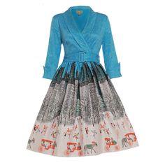 'Vivi' Blue Central Park Winter Print Swing Dress -  from Lindy Bop UK