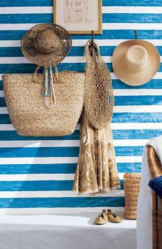 Alternate stripesof #RLPaint'sBrilliant White and Summer Regatta shades create a unique nautical-inspired design
