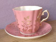 Antique Royal Grafton pink china tea cup and and saucer with gold filigree decor