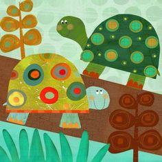 Oopsy Daisy - Turtle Pair Canvas Wall Art 14x14, Amy Schimler-Safford