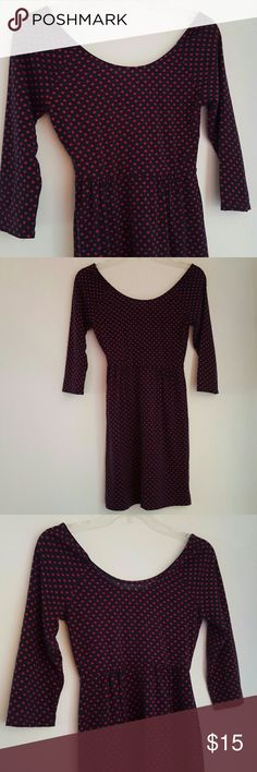 BLUE AND PINK LONG SLEEVE DRESS VERY GOOD CONDITION POLKA-DOT BLUE AND PINK DRESS. SIZE SMALL. Xhilaration Dresses Mini