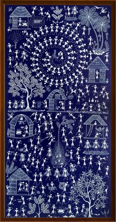 Tribal Warli Painting, Handmade Indian Traditional painting on Canvas with Tribal Festival Celebration cms Madhubani Art, Madhubani Painting, Indian Traditional Paintings, Traditional Art, African Art Paintings, Abstract Paintings, Oil Paintings, Worli Painting, Unique Drawings