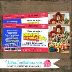 This concert ticket invitation will be cuztomized with your child's birthday info. Toy Story Invitations, Ticket Invitation, Birthday Invitations, Invites, Diy Toy Box, Diy Toy Storage, Toy Story Tattoo, Toy Story Birthday, Toy Rooms
