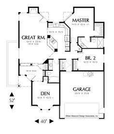 Floor Plan of Mascord Plan 1108A - The Naylor - 1295 sq. ft.