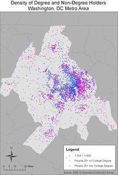 """""""Degree density"""" maps show region's east-west divide - Greater Greater Washington, DC"""