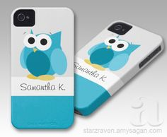Funny Blue Owl – Personalized iPhone 4/4S Case