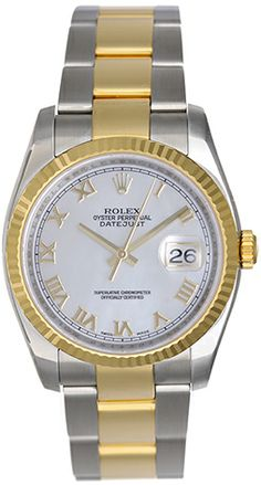 Rolex Datejust Men's 2-Tone Watch Mother of Pearl Roman Dial 116233