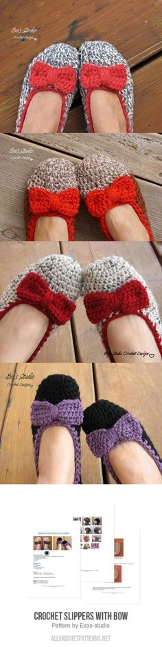 Crochet Slippers with Bow crochet pattern