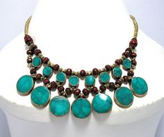 Afghan Kuchi Necklace,Cassidy Bib Necklace,Bubble Green Turquoise Necklace,Boho Jewelry,Bohemian Necklace,Ethnic,Hippie,Gypsy Boho Necklace