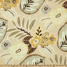 Tracey Camomile Floral Drapery fabric by Richloom Platinum Fabrics - Drapery Fabrics at Buy Fabrics