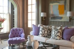 oomph Tini Tufted Chair, Essex Coffee Table, and pillows. Painting by Kerri Rosenthal