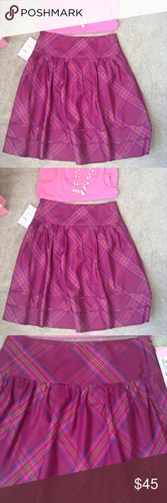 """Lilly Pulitzer Party Girl Plaid Silk Skirt Beautiful, fully lined skirt of 100 % silk. Waist is 30"""" and length is 24"""". Lilly Pulitzer Skirts"""