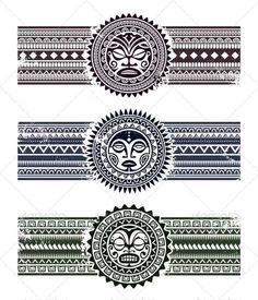 Polynesian tattoo styled masks with pattern bracelets.