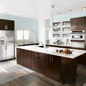 Dark cabinets, light counters  Blythe Cherry Chocolate Kitchen Cabinets