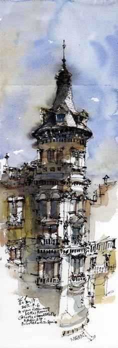 Urban Sketchers - kiah Kiean // View from Hotel Condestable, Barcelona