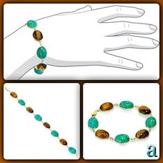 """#retro #modern. #classic #egyptian #style #scarab #bracelet. #vintage #design #updated with a """"#now"""" #color #combo.   #tigereye #and #amazonite #handset into #rich #yellow #gold. #statement #jewelry   #amazinite   http://item.mobileweb.ebay.com/viewitem?itemId=161004386760"""