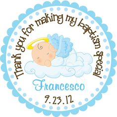 Our Little Angel Baby Boy Personalized Stickers Party Favor Labels Address Christening Baptism Size Choice On Etsy 6 00