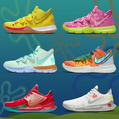 The Spongebob Squarepants x Nike Kyrie collection was one of the best releases of Did you cop all six? Zapatillas Kyrie Irving, Ballin Shoes, Sneakers Wallpaper, White Jordans, Sneaker Art, Hype Shoes, Nike Kyrie, Nike Basketball Shoes, Spongebob Squarepants
