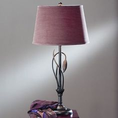 "Hubbardton Forge Leaf 17"" Table Lamp Finish: Mahogany, Shade Color: Natural Anna, Shade Type: Empire"