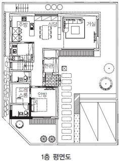 【의정부 단독주택】 부용산을 품은 도시형 전원주택 고깔집 My Home Design, House Design, Plan Sketch, Architecture Plan, Asian Style, House Floor Plans, Layout, Flooring, How To Plan