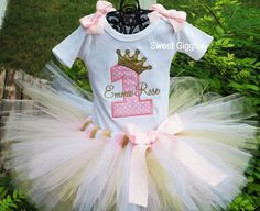 1st Birthday Tutu Outfit, Pink and Gold Princess, Baby Girl 1st birthday tutu outfits, princess first birthday, pink princess party