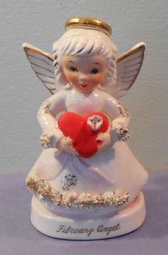 Vintage 1950s Napco Birthday Month August Angel Girl