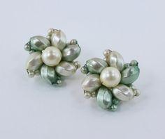 Vintage 60s Retro Kitsch Faux Pearl Pale Pastel Mint Green Faux Pearl Cluster Earrings by ThePaisleyUnicorn, $6.00