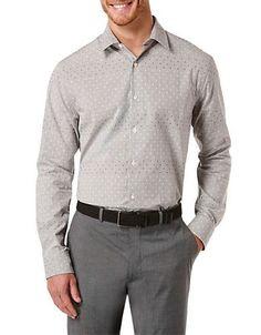 Perry Ellis Regular Fit Dobby Grid Sportshirt Men's Black Small