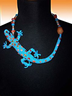 Blue Lizard Crochet and Beaded Necklace
